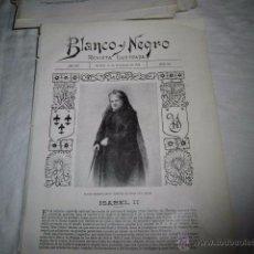 Coleccionismo de Revistas y Periódicos: ULTIMO RETRATO DE SU MAJESTAD LA REINA DOÑA ISABEL II HOJA DE REVISTA BLANCO Y NEGRO 1902 . Lote 53826856