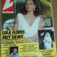 Coleccionismo de Revistas y Periódicos: LECTURAS Nº 2008, SEPBRE 1990-REPORTAJE MARISOL 1 PG. 2 FOTOS- LOLA FLORES MUY GRAVE. Lote 53917783