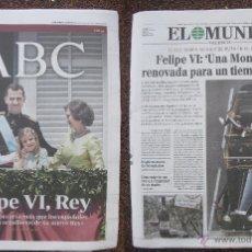 Coleccionismo de Revistas y Periódicos: FELIPE VI, REY DE ESPAÑA - DIARIOS ''ABC'' Y ''EL MUNDO'' (20-6-2014). Lote 53986223