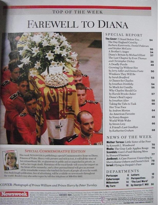 Coleccionismo de Revistas y Periódicos: Revista Newsweek - Farewell, Diana - Muerte de Lady Di (1997) - Foto 2 - 54068344