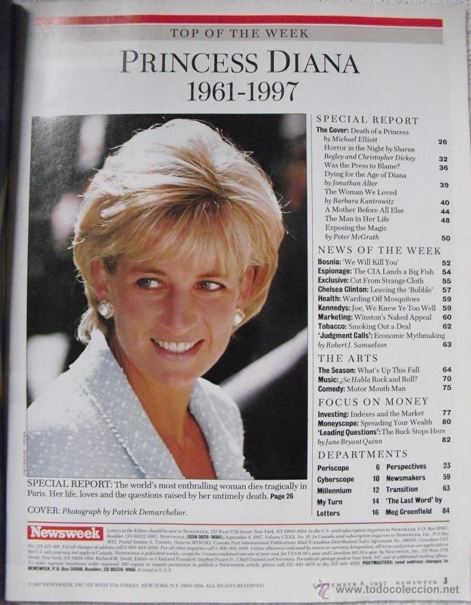 Coleccionismo de Revistas y Periódicos: Revista Newsweek - Lady Di - Muerte de Diana, Princesa de Gales (1997) - Foto 2 - 54068348