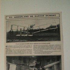 Coleccionismo de Revistas y Periódicos: HOJA DE REVISTA ORIGINAL 1907. EL AEROPLANO DE SANTOS DUMONT. Lote 54137215