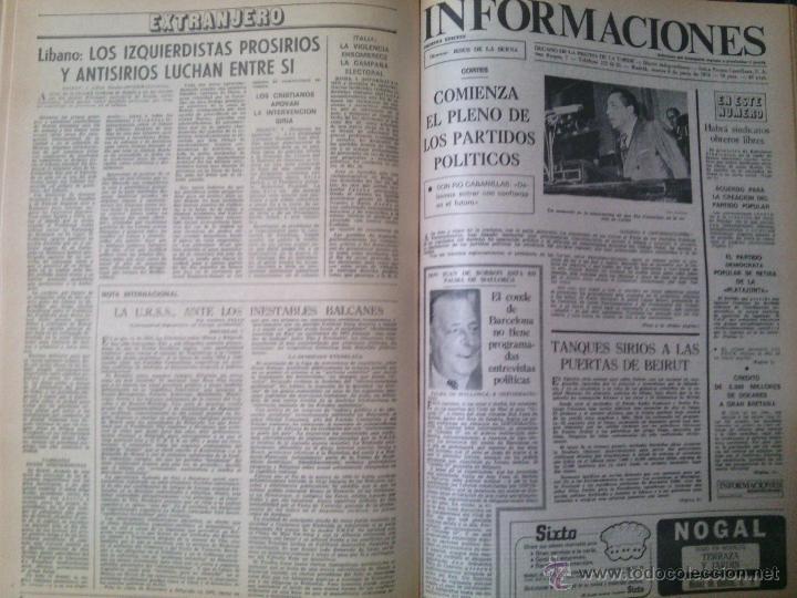 INFORMACIONES -DIARIO DE LA TARDE- DEL 20 FEBRERO AL 2 DE SEPTIEMBRE DE 1976 - MÁS DE 250 EJEMPLARES (Coleccionismo - Revistas y Periódicos Modernos (a partir de 1.940) - Otros)