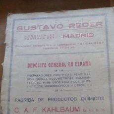 Coleccionismo de Revistas y Periódicos: GUSTAVO REDER REVISTA ANTIGUA DE 1926 DEPOSITO GENERAL EN ESPAÑA DE LAS PREPARACIONES CIENTIFICAS. Lote 54396911