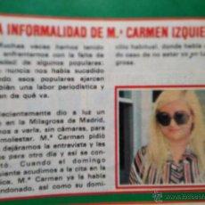 Coleccionismo de Revistas y Periódicos: RECORTE MARI CARMEN IZQUIERDO. Lote 54429168