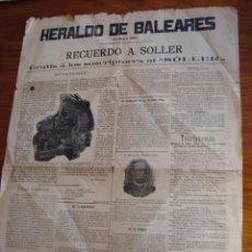 Coleccionismo de Revistas y Periódicos: HERALDO DE BALEARES. RECUERDO A SÓLLER. PALMA DE MALLORCA, 1897.. Lote 54447069