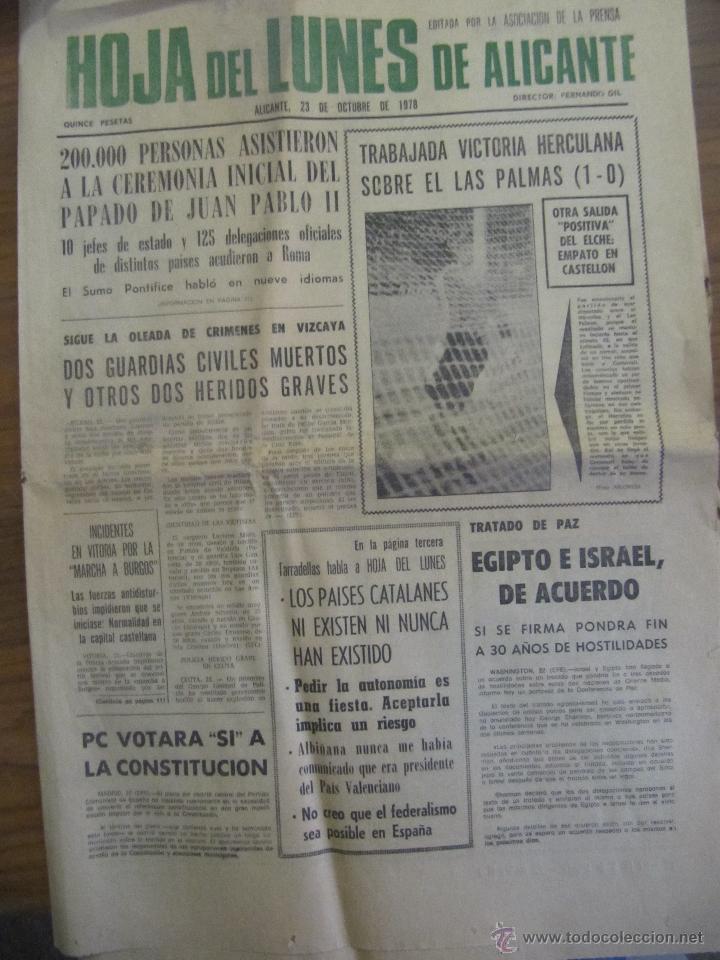 HOJA DEL LUNES DE ALICANTE. 23 DE OCTUBRE 1978