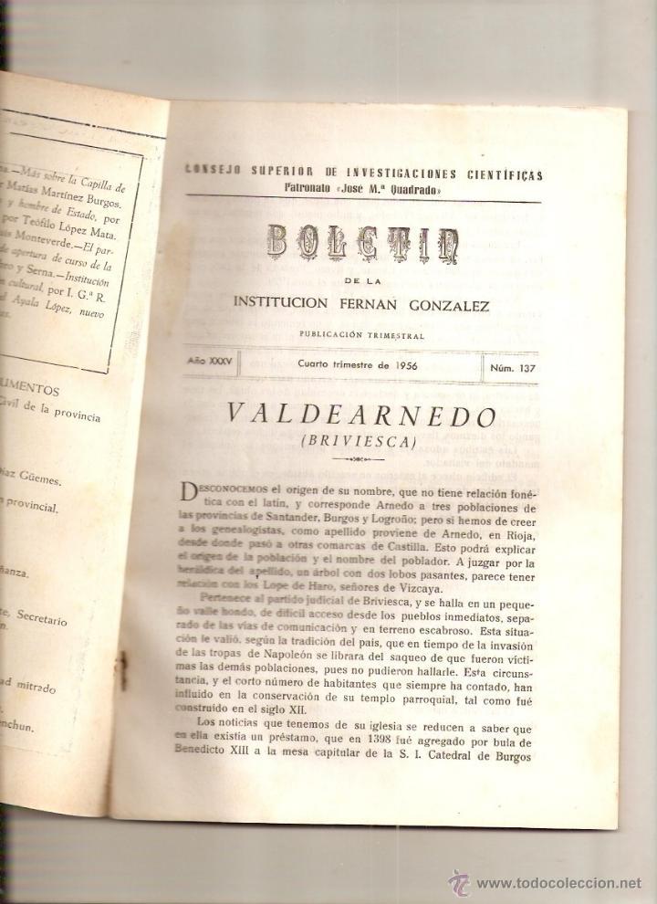 AÑO 1956 HISTORIA VALDEARNEDO BRIVIESCA BURGOS CAPILLA PRESENTACION FELIPE VIGARNI ROMANICO BURGALES (Coleccionismo - Revistas y Periódicos Modernos (a partir de 1.940) - Otros)