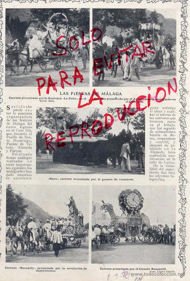MALAGA 1912 FIESTAS HOJA REVISTA (Coleccionismo - Revistas y Periódicos Antiguos (hasta 1.939))