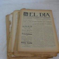 Coleccionismo de Revistas y Periódicos: LOTE 34 DIARIO EL DIA, DE TERRASSA, DE 1919 A 1923. ORIGINALES, Y VARIAS PAGINAS SUELTAS. DIARIOS. Lote 54737836