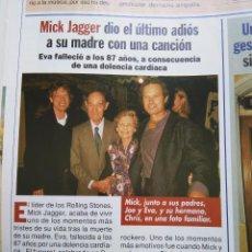 Coleccionismo de Revistas y Periódicos: RECORTE MICK JAGGER THE ROLLING STONES. Lote 54776497