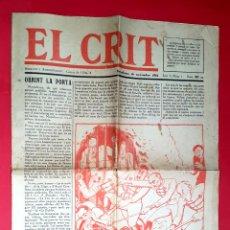 Coleccionismo de Revistas y Periódicos: EL CRIT - CATALUNYA - 1932 - ANY 1 - NÚM. 1. Lote 54821026