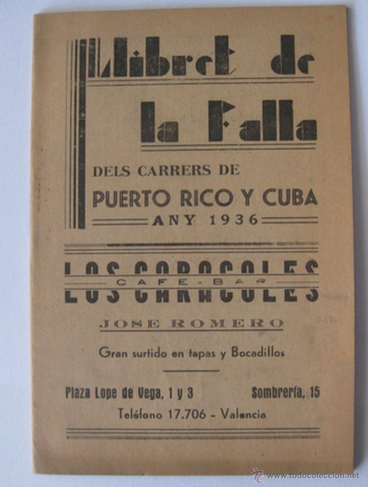 llibret falla puerto rico cuba 1936 valencia comprar