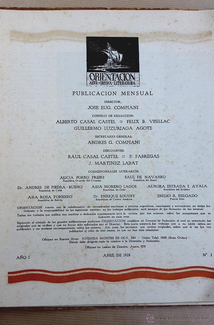 Coleccionismo de Revistas y Periódicos: ORIENTACIÓN - 1928 - BUENOS AIRES - Nº 1 - REVISTA DE ARTE Y CULTURA - Foto 3 - 55021634