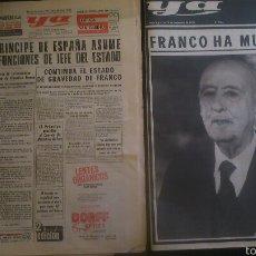 Coleccionismo de Revistas y Periódicos: 2 PUBLICACIONES PERIÓDICO YA. 31/10/1975 Y 20/11/1975 MUERTE DE FRANCO. Lote 55367743