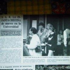 Coleccionismo de Revistas y Periódicos: RECORTE INFANTA CRISTINA. Lote 55903853