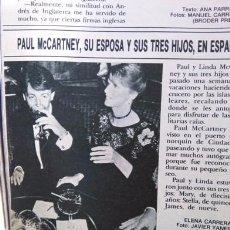 Coleccionismo de Revistas y Periódicos: RECORTE PAUL MCCARTNEY THE BEATLES LOS. Lote 179342198