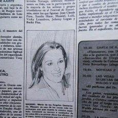Coleccionismo de Revistas y Periódicos: RECORTE MASSIEL. Lote 56098924