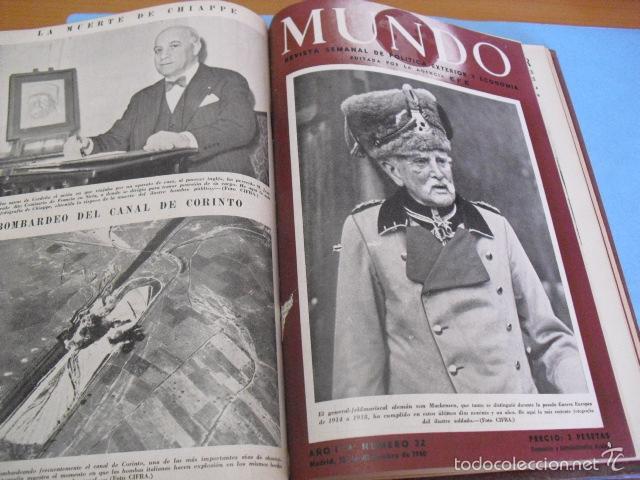 Coleccionismo de Revistas y Periódicos: mundo revista semanal,de 1940, tomo con 13 revistas - Foto 7 - 56126848