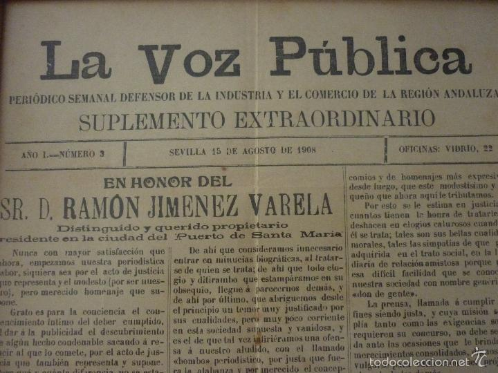 LA VOZ PUBLICA. PERIÓDICO SEMANAL DEFENSOR DE LA INDUSTRIA Y EL COMERCIO DE LA REGIÓN ANDALUZA (Coleccionismo - Revistas y Periódicos Antiguos (hasta 1.939))