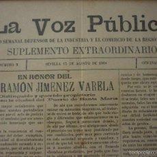 Coleccionismo de Revistas y Periódicos: LA VOZ PUBLICA. PERIÓDICO SEMANAL DEFENSOR DE LA INDUSTRIA Y EL COMERCIO DE LA REGIÓN ANDALUZA. Lote 56196689