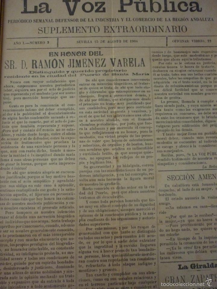 Coleccionismo de Revistas y Periódicos: LA VOZ PUBLICA. PERIÓDICO SEMANAL DEFENSOR DE LA INDUSTRIA Y EL COMERCIO DE LA REGIÓN ANDALUZA - Foto 2 - 56196689
