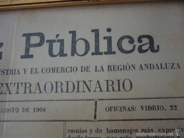 Coleccionismo de Revistas y Periódicos: LA VOZ PUBLICA. PERIÓDICO SEMANAL DEFENSOR DE LA INDUSTRIA Y EL COMERCIO DE LA REGIÓN ANDALUZA - Foto 4 - 56196689