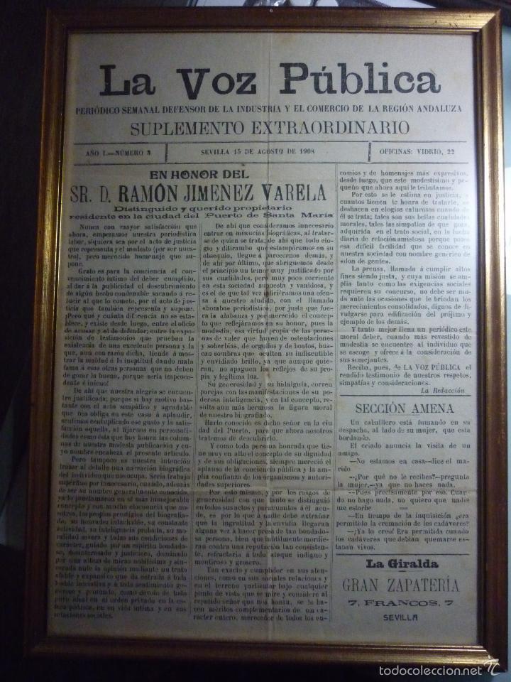Coleccionismo de Revistas y Periódicos: LA VOZ PUBLICA. PERIÓDICO SEMANAL DEFENSOR DE LA INDUSTRIA Y EL COMERCIO DE LA REGIÓN ANDALUZA - Foto 6 - 56196689