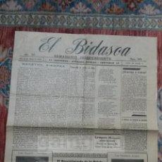 Coleccionismo de Revistas y Periódicos: EL BIDASOA , SEMANARIO INDEPENDIENTE. IRUN 6 DE JUNIO DE 1926 (4 PAGINAS ,, 37,5X51,8CM CADA PAGINA). Lote 56309190