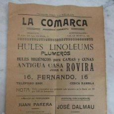 Coleccionismo de Revistas y Periódicos: LA COMARCA - PERIÓDICO SEMANAL - GRANOLLERS - Nº EXTRAORDINARIO - SÁBADO 2 DE MAYO DE 1914. Lote 56368165