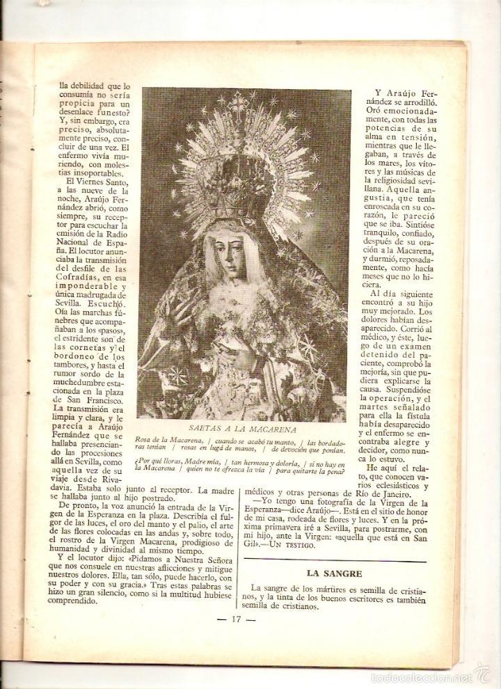 Coleccionismo de Revistas y Periódicos: REVISTA.AÑO 1950.GUIPUZCOA.MILAGRO EN JUAN ARANGUREN. MILAGROS DE LA MACARENA.FAVORES DEL P.DAMIAN. - Foto 2 - 12656561