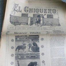 Coleccionismo de Revistas y Periódicos: REVISTA TAURINA EL CHIQUERO AÑO XL ZARAGOZA 12 DE DICIEMBRE DE 1926 Nº 2141. Lote 56481528