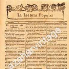 Coleccionismo de Revistas y Periódicos: PERIODICO LA LECTURA POPULAR, ORIHUELA,15 DE ENERO 1899 ,4 PAGINAS. Lote 56600025