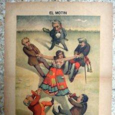 Coleccionismo de Revistas y Periódicos: PERIODICO EL MOTIN, Nº 37 , 1889 , SIGLO XIX , CARTEL LITOGRAFIA ,ORIGINAL. Lote 56635743
