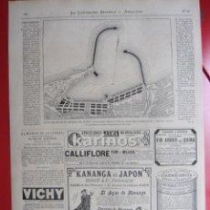 Coleccionismo de Revistas y Periódicos: GRABADO 1880. MALAGA. PLANO DEL PROYECTO PUERTO. PUBLICIDAD, VARIA. Lote 56641549