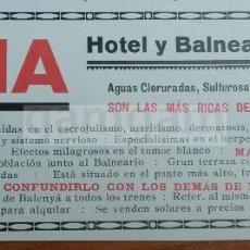 Coleccionismo de Revistas y Periódicos: ANUNCIO DE TONA BARCELONA , HOTEL BALNEARIO CODINA -AÑO 1925- (REFAN9). Lote 56652546