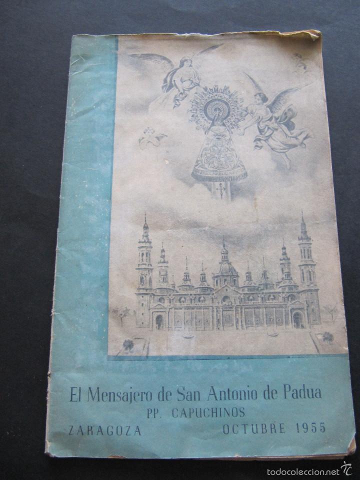 EL MENSAJERO DE SAN ANTONIO DE PADUA PP CAPUCHINOS ZARAGOZA OCTUBRE 1955 (Coleccionismo - Revistas y Periódicos Modernos (a partir de 1.940) - Otros)