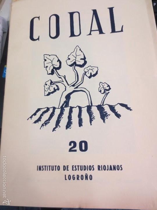 REVISTA CODAL Nº 20 INSTITUTO DE ESTUDIOS RIOJANOS LOGROÑO OCTUBRE- DICIEMBRE 1953 (Coleccionismo - Revistas y Periódicos Modernos (a partir de 1.940) - Otros)