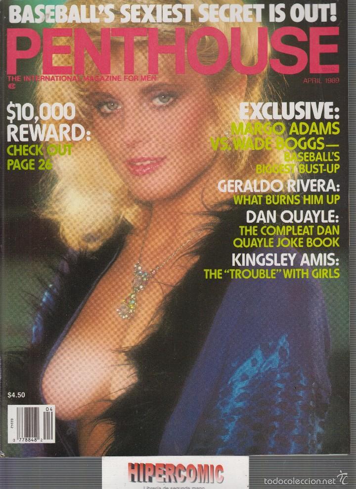 PENTHOUSE APRIL 1989 MARGO ADAMS VS WADE BOGGS , GERALDO RIVIERA , DAN QUAYLE , KINSLEY AMIS (Coleccionismo - Revistas y Periódicos Modernos (a partir de 1.940) - Otros)