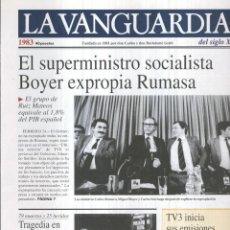 Coleccionismo de Revistas y Periódicos: LA VANGUARDIA AO 1983: EL SUPERMINISTRO SOCIALISTA BOYER EXPROPIA RUMASA. Lote 57067416