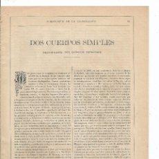 Coleccionismo de Revistas y Periódicos: 1889 - DOS CUERPOS SIMPLES DESCUBIERTOS POR QUÍMICOS ESPAÑOLES - JOSÉ RODRÍGUEZ MOURELO. Lote 57188065