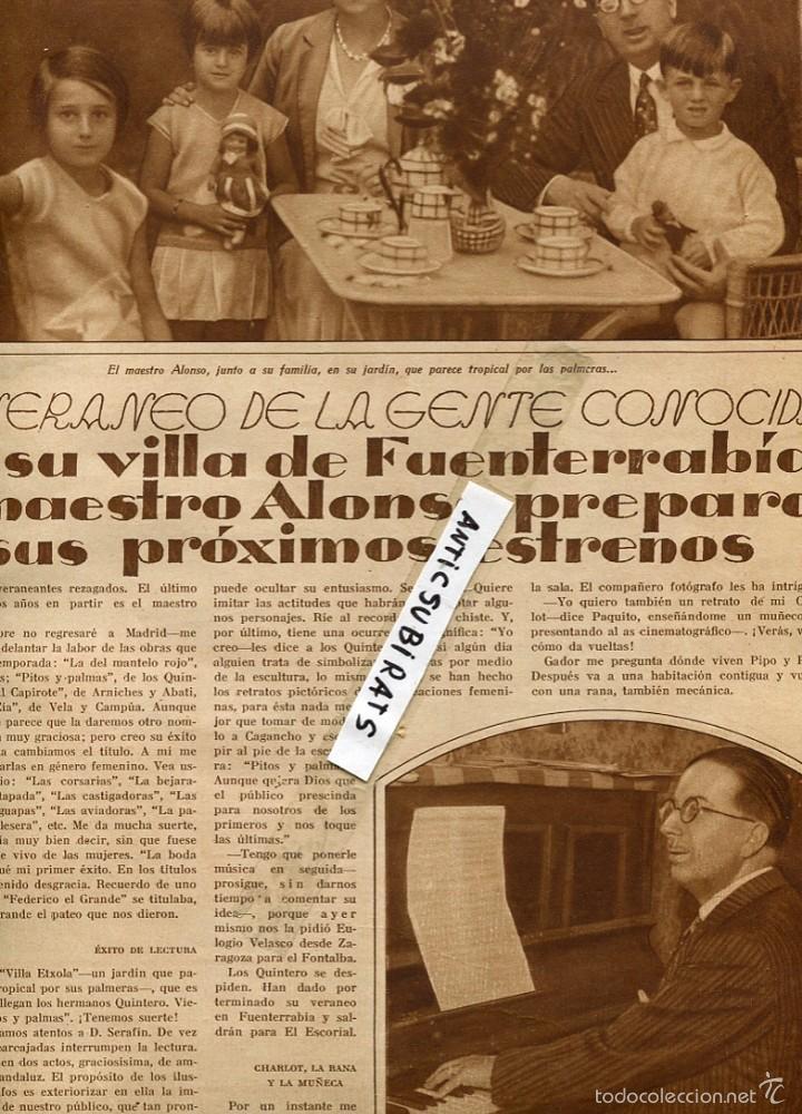 REVISTA AÑO 1930 MAESTRO ALONSO EN FUENTERRABIA HONDARRIBIA HISTORIA DEL SOMBRERO  SOMBREROS FEMENINO de8617d9671