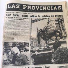 Coleccionismo de Revistas y Periódicos: PERIODICO LAS PROVINCIAS 10/09/83 TITULO 10 HORAS COSTO RETIRAR ESTATUA FRANCO. Lote 57472179