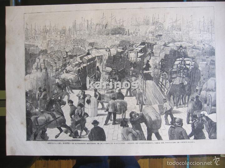 GRABADO 1880. NUEVA-YORK PUERTO CERCA DEL FONDEADERO DE NORTH-RIVER (261) (Coleccionismo - Revistas y Periódicos Antiguos (hasta 1.939))
