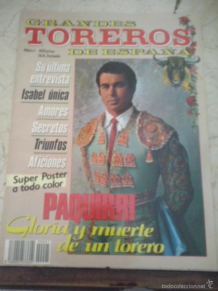 REVISTA GRANDES TOREROS DE ESPAÑA Nº 1 PAQUIRRI GLORIA Y MUERTE DE UN TORERO (Coleccionismo - Revistas y Periódicos Modernos (a partir de 1.940) - Otros)