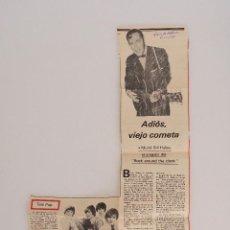 Coleccionismo de Revistas y Periódicos: ARTÍCULO DE PRENSA ORIGINAL DE 1981. ADIÓS, VIEJO COMETA. MUERTE BILL HALLEY. Lote 57800066