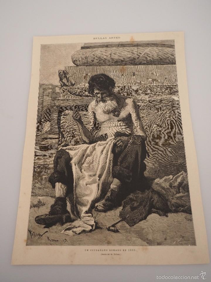 HOJA GRABADO REVISTA ORIGINAL SIGLO XIX. UN CIUDADANO ROMANO EN 1869 (BOCETO PELLICER) (Coleccionismo - Revistas y Periódicos Antiguos (hasta 1.939))