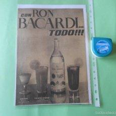 Coleccionismo de Revistas y Periódicos: RECORTE PERIODICO RON BACARDI 28 CM X 20 CM APROX.. Lote 58074233