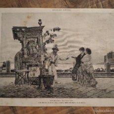 Coleccionismo de Revistas y Periódicos: GRABADO DE REVISTA ORIGINAL SIGLO XIX. AGUADUCHO NAPOLITANO. ACUARELA DALBONO. Lote 58077582