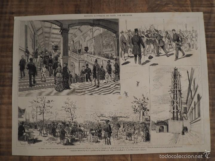 GRABADO DE REVISTA ORIGINAL SIGLO XIX. ESCENAS DE PARIS, POR PELLICER (Coleccionismo - Revistas y Periódicos Antiguos (hasta 1.939))